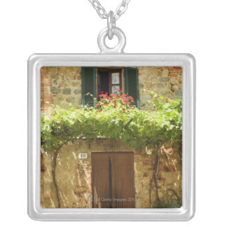 Potted plants in front of a building, Piazza Silver Plated Necklace