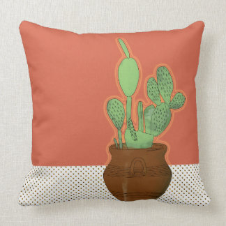 Potted Prickly Pear Throw Pillow