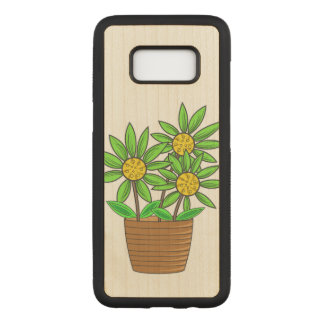 Potted Sunflowers Carved Samsung Galaxy S8 Case