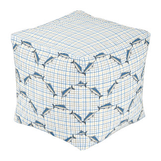 Pouf - Cube - Blue Marlin on Plaid
