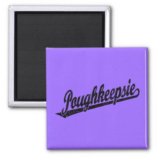 Poughkeepsie script logo in black distressed fridge magnet
