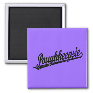 Poughkeepsie script logo in black distressed square magnet