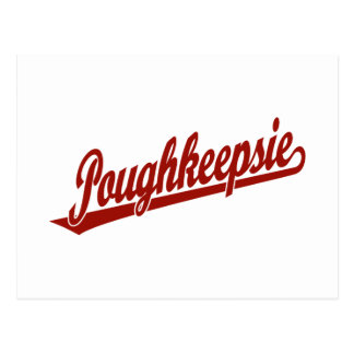 Poughkeepsie script logo in red postcard