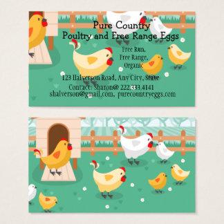 Poultry, Chicken Farm  Eggs Free Run, Organic Business Card