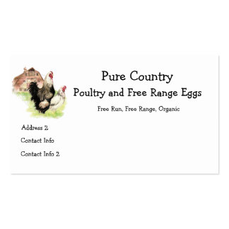 Poultry, Chicken Farm  Eggs Free Run, Organic Pack Of Standard Business Cards