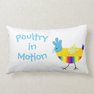 Poultry in Motion, Funny Colorful Chicken Lumbar Cushion