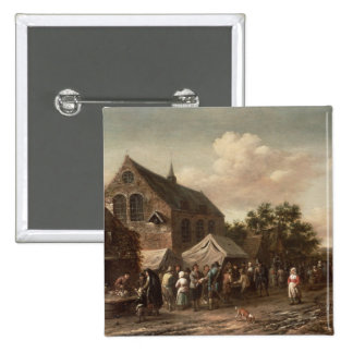 Poultry Market by a Church 15 Cm Square Badge