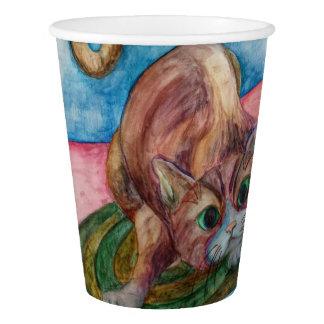 pouncing cat paper cup