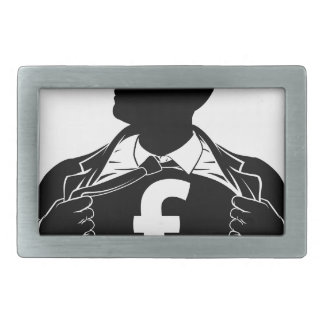 Pound Business Man Hero Tearing Shirt Chest Rectangular Belt Buckles