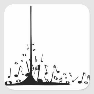 Pouring Musical Notes Square Sticker