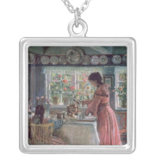 Pouring the Morning Coffee, 1906 Silver Plated Necklace