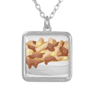 poutine silver plated necklace
