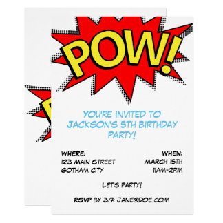 POW! Superhero Comic Book Birthday Party Template