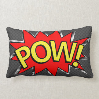 POW! - Superhero Comic Book Bubble - Custom BG Lumbar Cushion