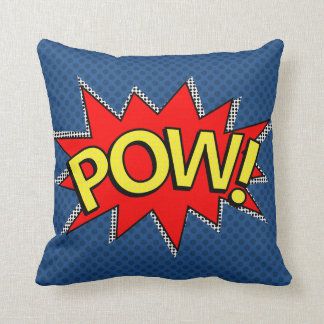 POW! - Superhero Comic Book Bubble - Custom BG Throw Pillow