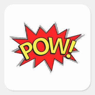 POW! - Superhero Comic Book Red/Yellow Bubble Square Sticker