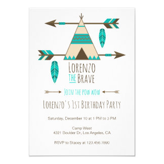 Pow Wow Tribal Birthday Party Invitation