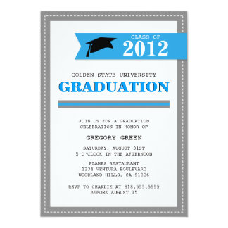 Powder Blue and Gray Preppy Graduation Invitation