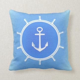 Powder Blue and White nautical anchor and wheel Cushion