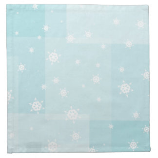 Powder Blue and White Winter Snowflakes Pattern Printed Napkin