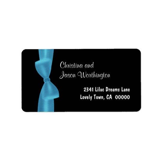 Powder Blue Bow Monogram Wedding Black Background Label