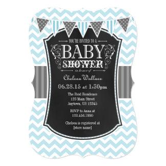 Powder Blue Chalkboard Chevron Baby Shower Invite