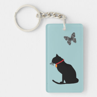 Powder Blue Graphic Art Cat Key chain