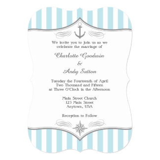 Powder Blue Gray Nautical Wedding Invitation