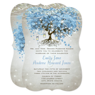 Powder Blue Heart Leaf Tree Card