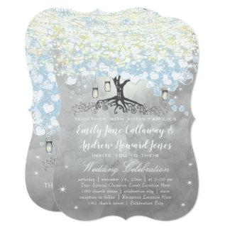 Powder Blue Heart Leaf Tree Woodsy Boho Wedding Card