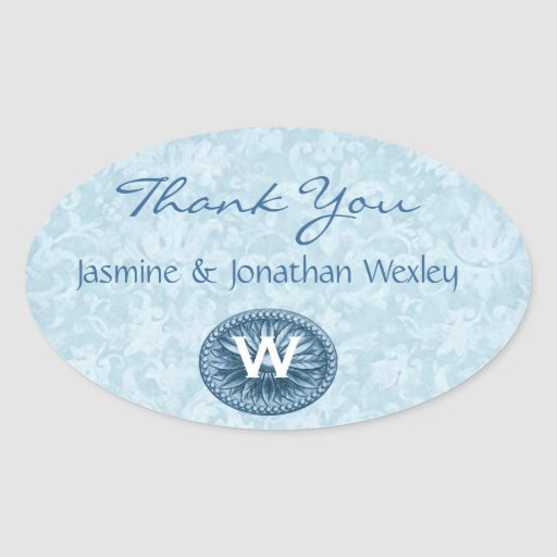 Powder Blue Monogram Wedding Thank You G200 Oval Sticker