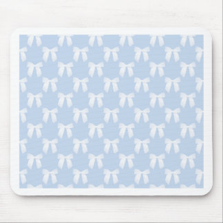Powder Blue Pastel With White Bows Mouse Pad