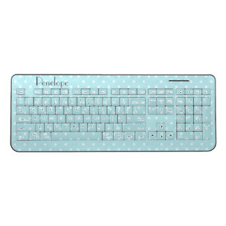 Powder Blue Polka Dot Pattern with Your Name Wireless Keyboard