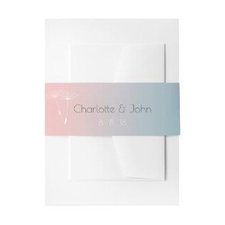 Powder Blue Slate Balet Pink Ombre Dandelion Invitation Belly Band