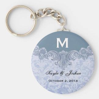 Powder Blue Vintage Monogram Wedding Favor V20 Basic Round Button Key Ring