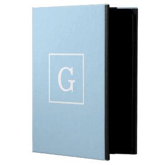 Powder Blue White Framed Initial Monogram Case For iPad Air
