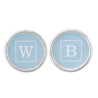 Powder Blue White Framed Initial Monogram Cufflinks
