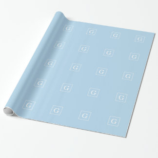 Powder Blue White Framed Initial Monogram Wrapping Paper