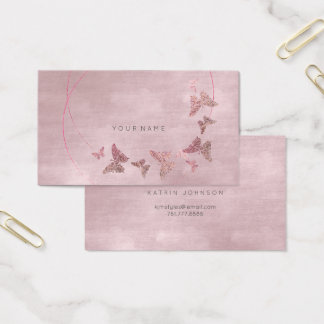 Powder Blush Velvet Ballet Pink Butterfly Vip Business Card