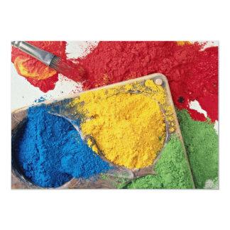 Powder paints on palette with brush 13 cm x 18 cm invitation card
