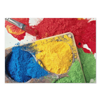 Powder paints on palette with brush 13 cm x 18 cm invitation card