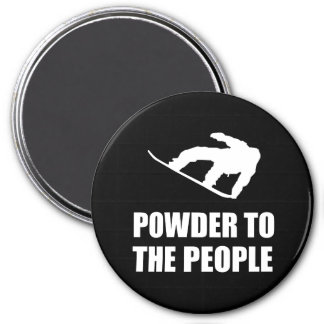 Powder Snow To The People Ski 7.5 Cm Round Magnet