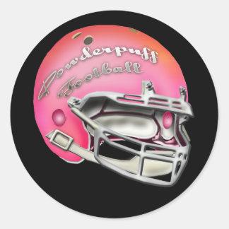Powderpuff Pink Football Helmet Classic Round Sticker