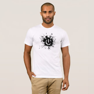 Power Button Splatter White T Shirt