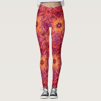 Power flower vibrant 60's pattern leggings
