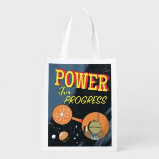 Power For Progress vintage Atomic poster Reusable Grocery Bag