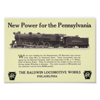 Power For The Pennsylvania Railroad 1926 Poster