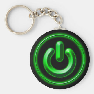 Power: Green Basic Round Button Key Ring