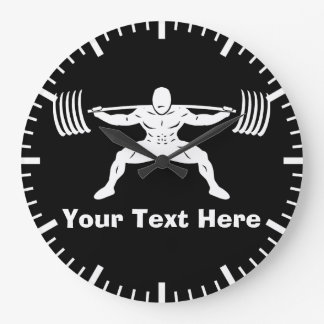 """POWER LIFTING"" Power Squat Logo - Customizable Large Clock"