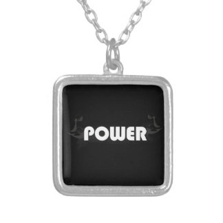 Power muscles silver plated necklace